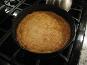 finished pie in pan