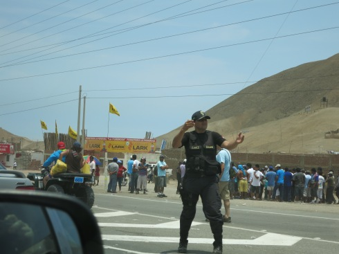 That would be a highway closed by protesting fishermen on our trip to Peru.