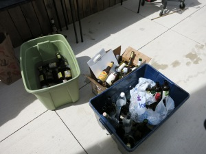 One of (a few) recycling bins. Sign of a good party.