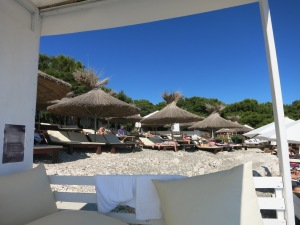 Our view of Carpe Diem beach from our cabana.