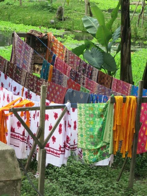 sarongs drying in Bali