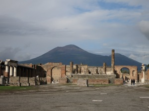 Vesuvius looming over Pompeii.