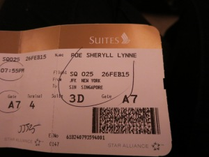 Ticket for Singapore Airlines