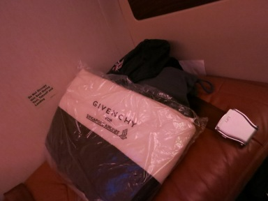 Givenchy bedding on Singapore Airlines Suites