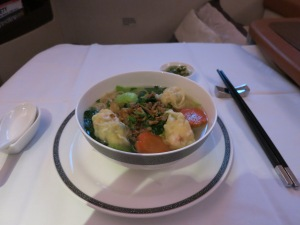 Wonton soup on Singapore Airlines
