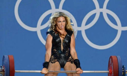 Get it? That's Beyonce, getting pumped? Get it?