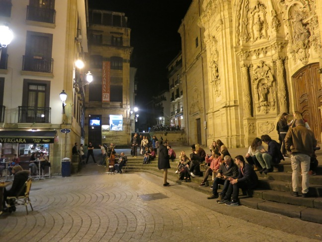 San Sebastian nighttime eating scene